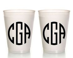 Frosted Wedding Cups Monogrammed Wedding Cups Plastic Wedding Cups Wedding Cups Anniversary Party Cups Monogrammed Cups 1420 by SipHipHooray
