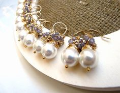Bridesmaid gifts Set of six pairs of gold pearl by anthology27, $150.90
