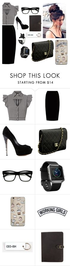"""""""Work"""" by mbubbles109 ❤ liked on Polyvore featuring Marissa Webb, Jupe By Jackie, Casadei, Chanel, ZeroUV, Fitbit, Working Girls, Various Keytags, Canyon Outback Leather and WorkWear"""