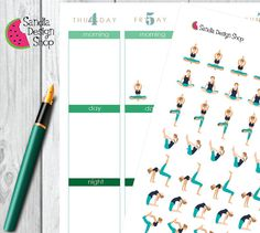 84 yoga Stickers, Planner Stickers, Erin Condren, Plum, Limelife, Journals.