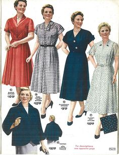 "Lane Bryant catalog from 1954. Check out the ""plus sized"" models! Also...I would wear ALL of those."