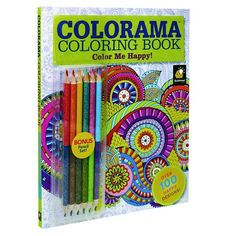 As Seen On TVR Colorama 7 Piece Color Me Happy Adult Coloring Book