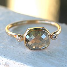 Diamond Ring- Rose Cut Diamond Slice in 14K Yellow Gold
