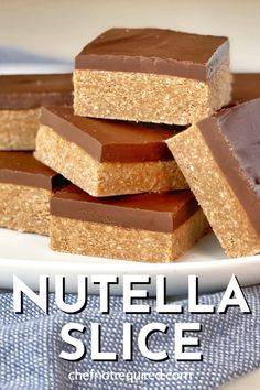 This recipe for Nutella Slice couldn't be easier! These bars are no bake, plus they only have 5 ingredients and totally melt and mix! Great for the kids to help out with too. A tasty afternoon treat or easy dessert for all those Nutella and chocolate lovers out there. Also called a fridge slice or cake, once it's mixed up just place it in the refrigerator to set - if you can wait that long! #chefnotrequired #Nutella #nobakedesserts #nobakeslices