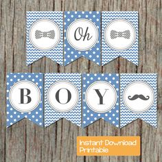 Blue and Grey Baby Shower Decor - Baby Shower Banner Boy, Printable