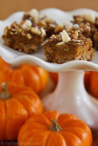 Pumpkin Pie Bites --  Many people look forward to eating pumpkin pie at Thanksgiving. If you're one of those people, then pay attention to this variation of a recipe for pumpkin pie. Pumpkin Pie Bites have a rolled oats crust covered with pumpkin pie filling and topped with more rolled oats, brown sugar, and walnuts. They are vegan and irresistible, and will allow you to enjoy pumpkin pie throughout the fall. Read more at  all free casserole recipes .com