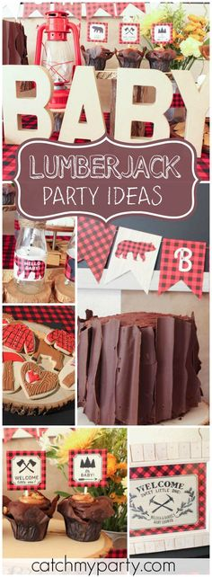 So many great ideas at this lumberjack baby shower! See more party ideas at Catchmyparty.com!