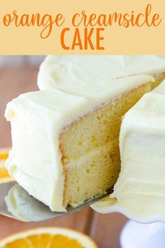 Orange Creamsicle Layer Cake A moist and flavorful layer cake full of bright and zesty orange marmalade. Sunny orange cream cheese frosting makes this creamsicle cake irresistible! Layer Cake Recipes, Dessert Cake Recipes, Köstliche Desserts, Frosting Recipes, Delicious Desserts, Layer Cakes, Plated Desserts, Orange Layer Cake Recipe, Poke Cakes