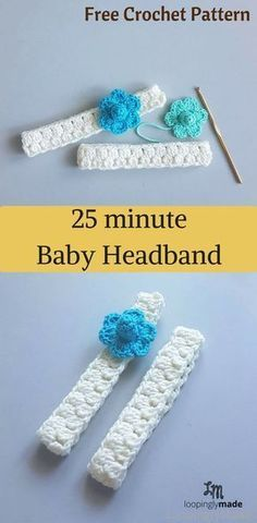 minute baby headband- quick and easy crochet pattern A super fast crochet baby headband for last minute gifting. Try it!A super fast crochet baby headband for last minute gifting. Try it! Baby Girl Crochet, Crochet Baby Hats, Crochet For Kids, Baby Knitting, Crochet Baby Stuff, Knit Hats, Crochet Beanie, Free Knitting, Bandeau Crochet