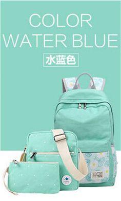Korean casual women bookbags canvas printing backpack sets cute school bags  backpacks for teenage girls shoulder 91bf0954b169b