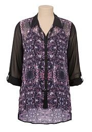 High-low jewel print chiffon top - maurices.com