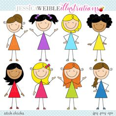 Stick Chicks Cute Digital Clipart - Commercial Use OK - Girl Stick Figures - Stick Figure Graphics from JW Illustrations Doodle Drawings, Easy Drawings, Doodle Art, Clipart, Drawing For Kids, Art For Kids, Mazes For Kids, Stick Figure Drawing, Japanese Embroidery