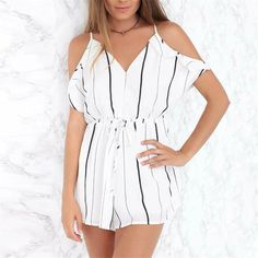 Sexy V Collar Loose Striped Wide Leg Romper Cute Rompers, Rompers Women, Warm Outfits, Beach Outfits, Romper Outfit, Spaghetti Strap Dresses, Fashion Outfits, Womens Fashion, Playsuit