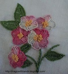Embroidery using a buttonhole stitch.