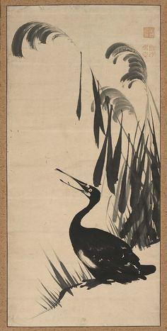 Cormorant in the Reeds  蘆に鵜図 Japanese Edo period second half of 18th century Itô Jakuchû