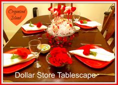 Dollar Store Valentines Tablescape from Organized Island