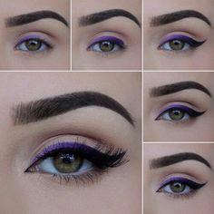 Purple Ombré Eyeliner - Makeup Tutorial - Make up hacks Eyeliner Make-up, Purple Eyeliner, Eyeliner Hacks, Eyeliner Styles, How To Apply Eyeliner, Makeup Hacks, Makeup Inspo, Makeup Inspiration, Makeup Ideas