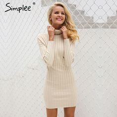 $32.98 - Cool Simplee Casual turtleneck long knitted sweater dress women Cotton slim bodycon dress pullover female Autumn winter dress 2017 - Buy it Now!