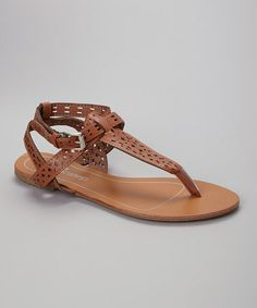 Loving this Chestnut Geometric Cutout Sandal on #zulily! #zulilyfinds