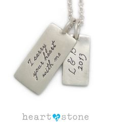 Personalized Message Charm Necklace. I carry your heart in my heart. Perfect #Valentines Day Gift #Love