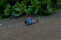 Rustic and Bohemian Electroformed Raw Blue Apatite Crystal Oxidized Copper Ring SIZE by KyaraCreations on Etsy Emotionally Exhausted, Copper Rings, Bohemian, Rustic, Gemstones, Band, Crystals, Etsy