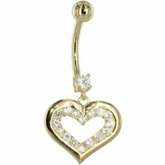 Solid 14kt Yellow Gold Cubic Zirconia Encased Heart Dangle Belly Ring Body Candy. $184.47