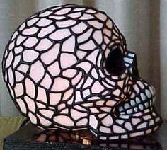 A skull stained glass lamp! Skull Decor, Skull Art, Skull Furniture, Crane, Stained Glass Lamps, Gothic House, Skull And Bones, Looks Cool, Sugar Skull