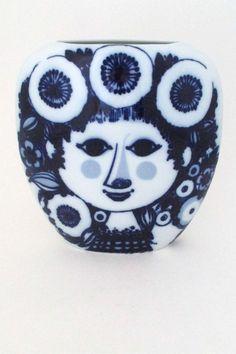 Bjorn Wiinblad large flow blue pillow vase