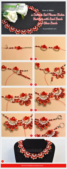 How to Make a Delicate Red Flower Choker Necklace with Seed Beads and Glass Beads from LC.Pandahall.com