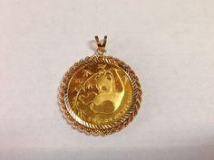 RARE 1985 1/2 oz Chinese Gold Panda 50 Yuan Gold Coin in 14k Gold Bezel Pendant