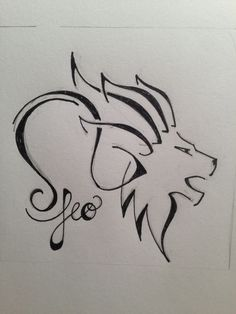 Tribal Lion Head And Leo Zodiac Tattoo Design