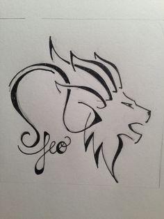 Tribal Lion Head And Leo Zodiac Tattoo Design