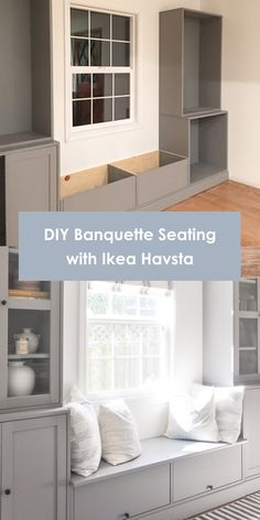 DIY tutorial on IKEA hack banquette seating. How to build storage bench seating in your dining room with IKEA Havsta cabinet storage system Dining Room Storage, Dining Nook, Furniture Storage, Diy Furniture, Cabinets In Dining Room, Built In Cupboards Living Room, Built In Dining Room Seating, Ikea Bedroom Storage, Ikea Dining Room