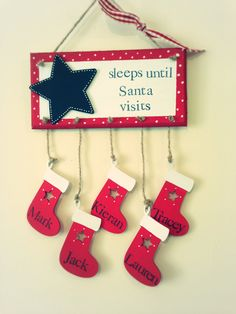 Sleeps until Christmas Countdown Plaque- Personalised, handmade ...