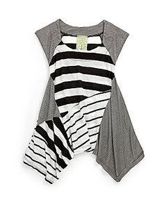 Kiddo Girl's Asymmetrical Stripe Tunic