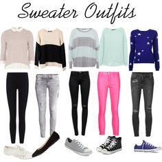 Sweater Outfits by devyn-barton on Polyvore featuring polyvore, fashion, style, Chinti and Parker, 360 Sweater, Ash Rain + Oak, Dorothy Perkins, J Brand, Ksubi, James Perse, H&M, Converse, yeswalker, Charlotte Russe and Wet Seal