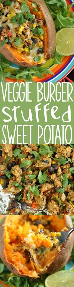 Savory stuffed sweet potatoes topped with crumbled homemade veggie burgers and all your favorite toppings! These veggie burger stuffed sweet potatoes rock!