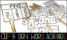 Clip it sight word activities for students.  I think this is DA for children ages 4-5 ELA.1.11 Recognize that words that look  alike may sound alike. ELA.2.38 Match like letters