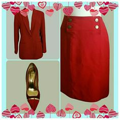 Like New Gorgeous lined red Nautical Skirt Size 12