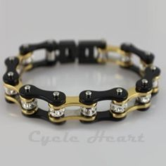 Motorcycle Chain Bracelet Gold & Black With Crystals