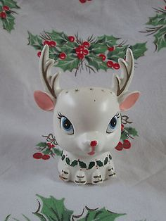VINTAGE NAPCO REINDEER HEAD CHRISTMAS PLANTER CANDY HOLDER