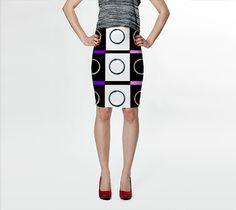 Suga Lane Bling Games Diamond Circles Black Pink White Checks Stretch Pencil Skirt