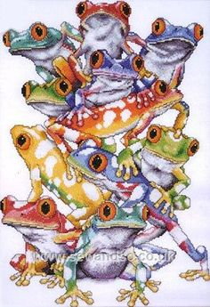 Cross stitch kit: Frog Pile for sale @ http://www.sewandso.co.uk