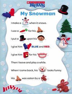 Snowman Rebus Poem