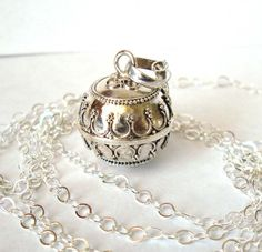 "Mexican Bola Sterling Silver Maternity Pregnancy Harmony ball Chime Necklace 36"" chain CN3. $36.99, via Etsy."