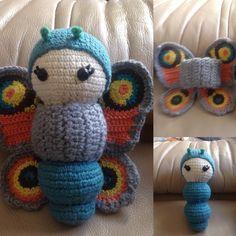 peacock Butterfly made by Rachel G. / crochet pattern by lalylala