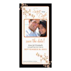 Cherry Blossom Save the Date Photocard (orange/bla Picture Card #savethedate #orangecolorscheme #weddings