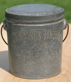 Antique Primitive Large 1800s Pure Lard Pig Tin Can Embossed North Packing and Provisions Boston Mass