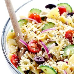 Mediterranean Pasta Salad- This bright and zesty pasta salad is so simple to make, and is the perfect side for any summer meal or bbq!