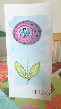 Handmade applique fabric card. Hello flower.